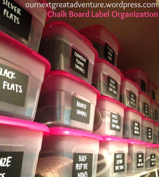 Chalk Board Label Organization - Shoe Boxes After