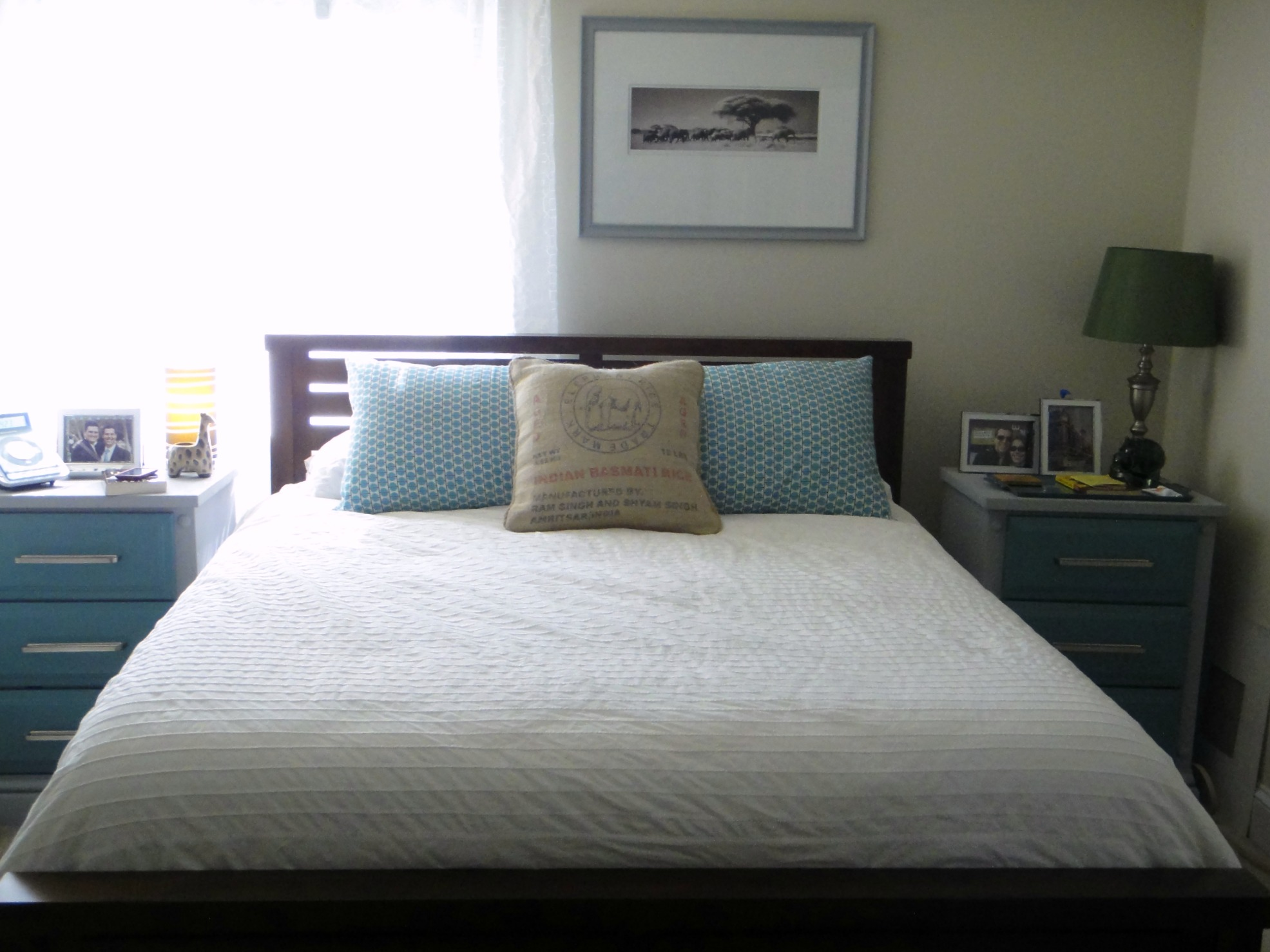 Master bedroom pillow makeover this sarah loves for Wall pillow for bed