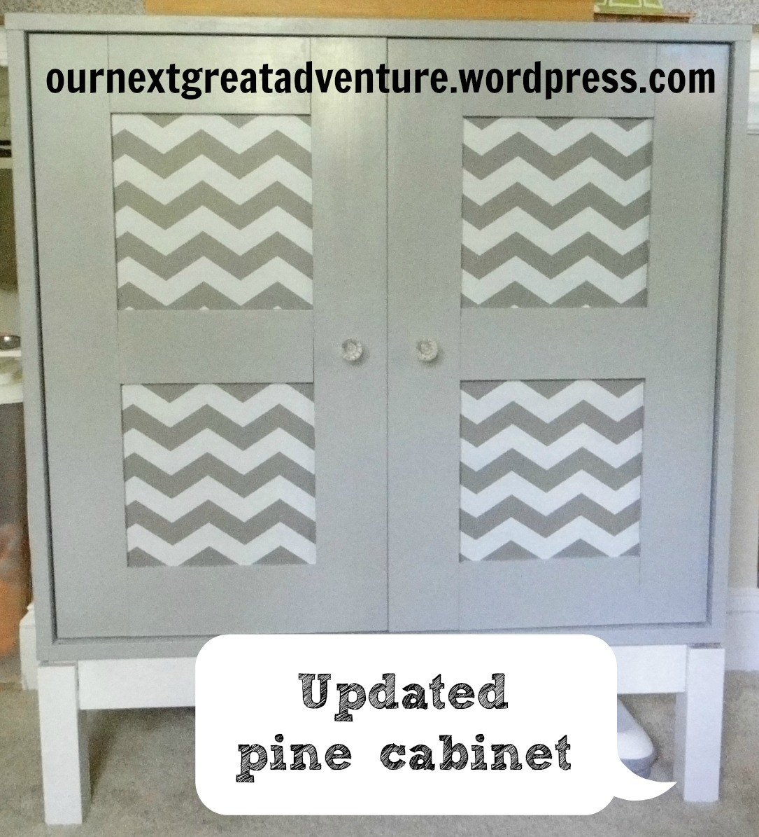 Pine cabinet with chevron contact paper