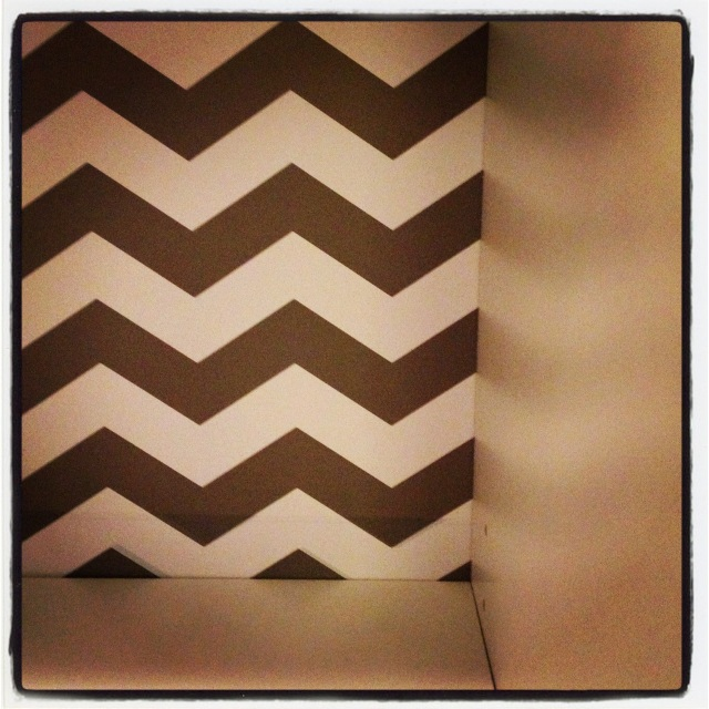 Cheap Target Bookshelf lined with Chevron Contact Paper