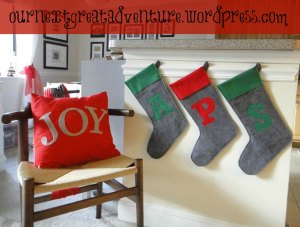Christmas Stockings Pillow Applique
