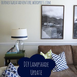Lamp Shade Update - DIY Painted Navy Stripe and New Pillows