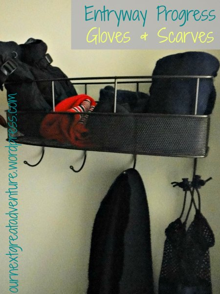 Entryway Organized Closet with Basket for Gloves and Scarves