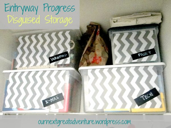 Entryway Organized Closet with Shelfpaper on Storage Boxes