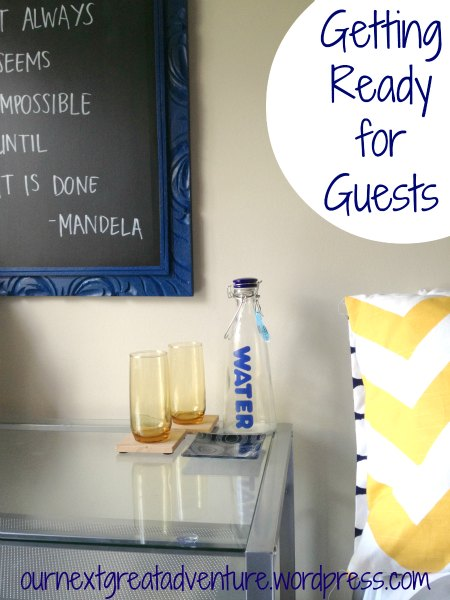 Guest Ready Guest Room -Water Bottle + Glasses for Guests
