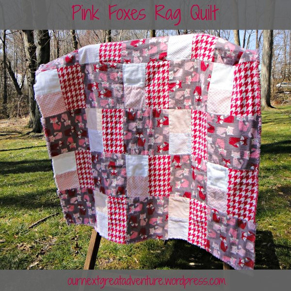 Pink Foxes Rag Quilt - Back