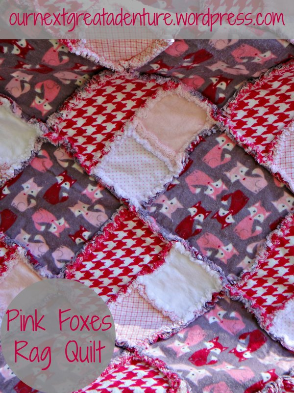 Pink Foxes Rag Quilt - Close-up
