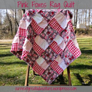 Pink Foxes Rag Quilt - Front