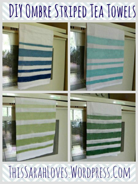 DIY Ombre Striped Tea Towels - Four Color Choices - ThisSarahLoves