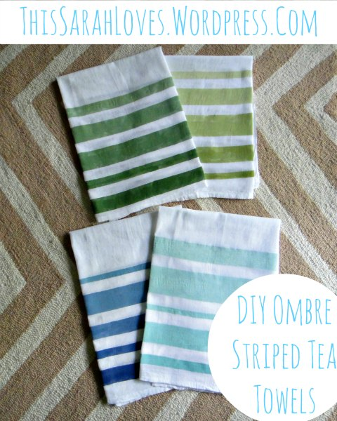 DIY Ombre Striped Tea Towels - ThisSarahLoves