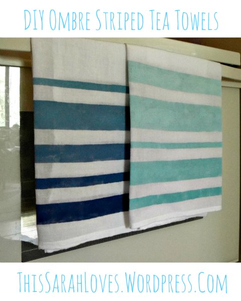 DIY Ombre Striped Tea Towels - Two Blue Towels - ThisSarahLoves