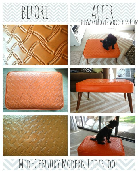 Midcentury Modern Footstool Before and After - ThisSarahLoves