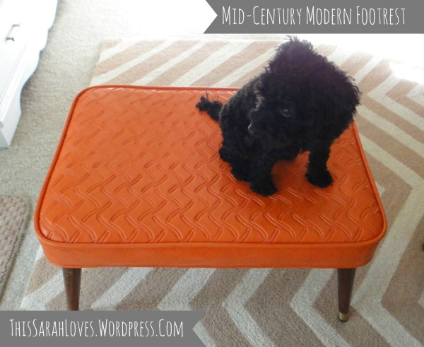 Midcentury Modern Footstool with Penelope - ThisSarahLoves
