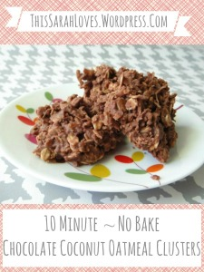 No Bake 10 Minute Chocolate Coconut Oatmeal Clusters