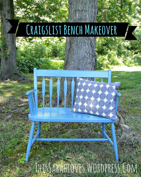 Craigslist Bench with Grey Dot Pillow