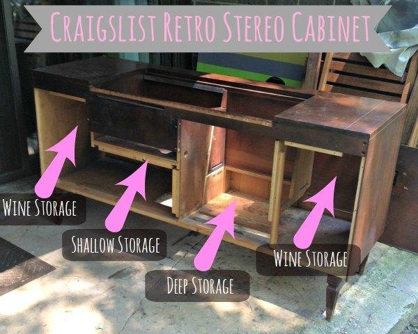 Retro Stereo Cabinet Makeover - Creating Storage - #thissarahloves
