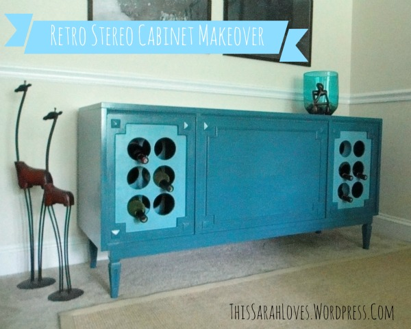 Retro Stereo Cabinet Makeover - Finished - #thissarahloves
