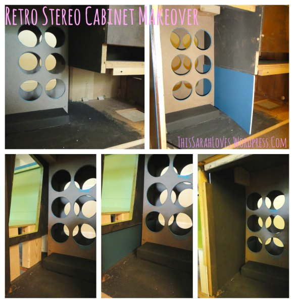 Retro Stereo Cabinet Makeover - Hiding Gaps with Painted Foam Core - #thissarahloves