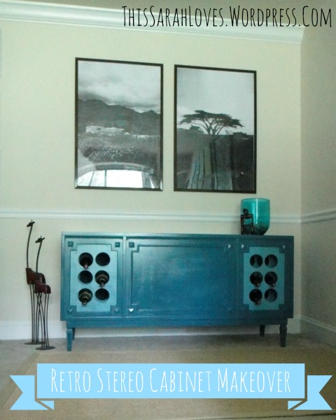 Retro Stereo Cabinet Makeover - In Living Room - #thissarahloves