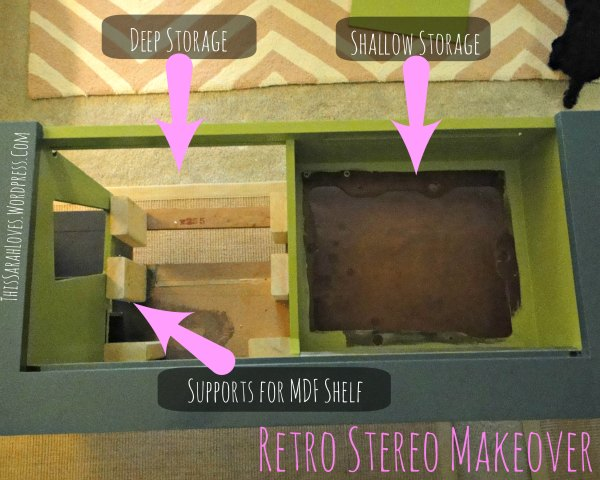 Retro Stereo Cabinet Makeover - Making Shelves and Painting - #thissarahloves