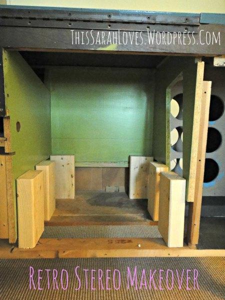 Retro Stereo Cabinet Makeover   Shelf Supports   #thissarahloves