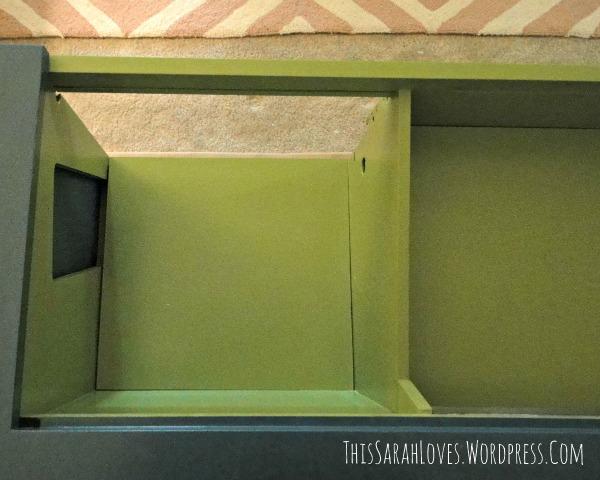 Retro Stereo Cabinet Makeover - Shelves In - #thissarahloves