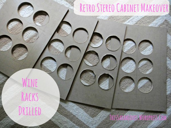 Retro Stereo Cabinet Makeover - Wine Racks Done - #thissarahloves
