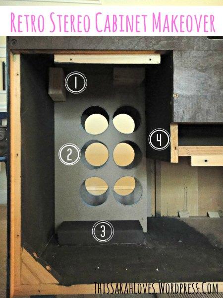 Retro Stereo Cabinet Makeover - Wine Racks Installed - #thissarahloves