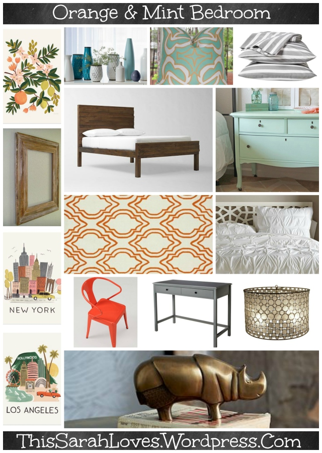 Tangerine Hues Bedroom Mood Board