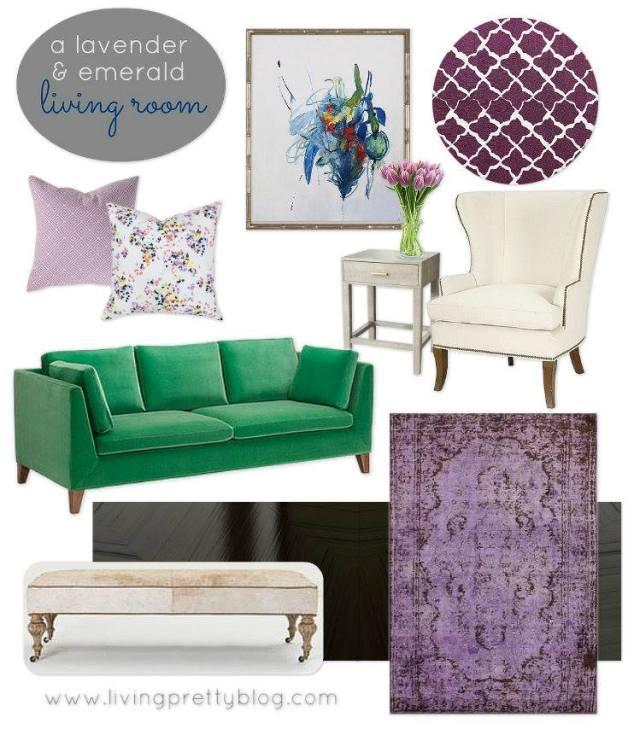 Lavender Hues Living Room - livingprettyblog