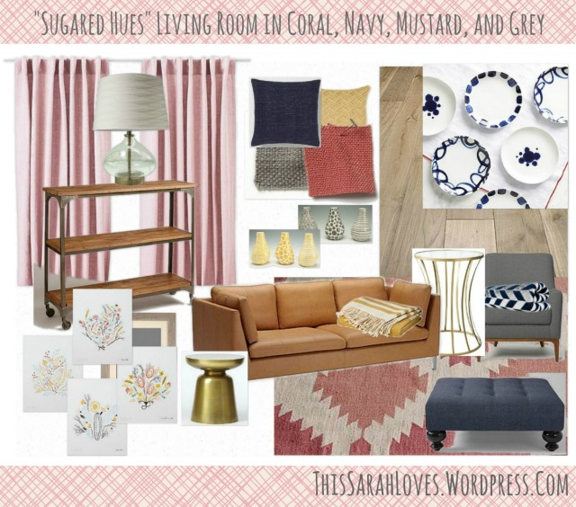 Sugared Hues - Navy Coral Mustard Grey - Living Room - #thissarahloves