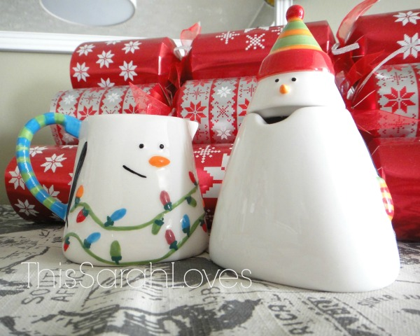 Snowman Sugar and Creamer - Christmas Dining Room