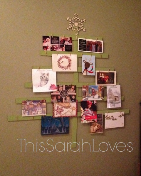 Yardstick Card Tree - #thissarahloves - Filled with Christmas Cards