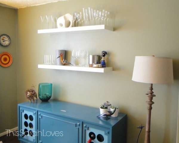 Floating Shelves - Dining Room - Wine Bar Side