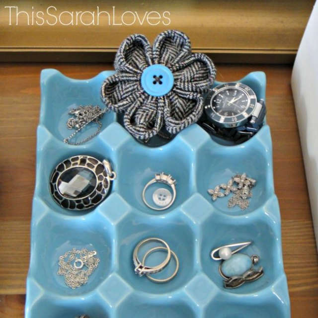 Dresser Top Egg Crate Jewelry Storage - Progress - #thissarahloves
