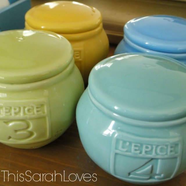 Dresser Top Spice Jars - Progress - #thissarahloves