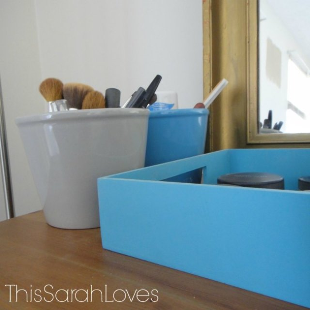 Dresser Top Tray and Flower Pots Make-up Organization - Progress - #thissarahloves