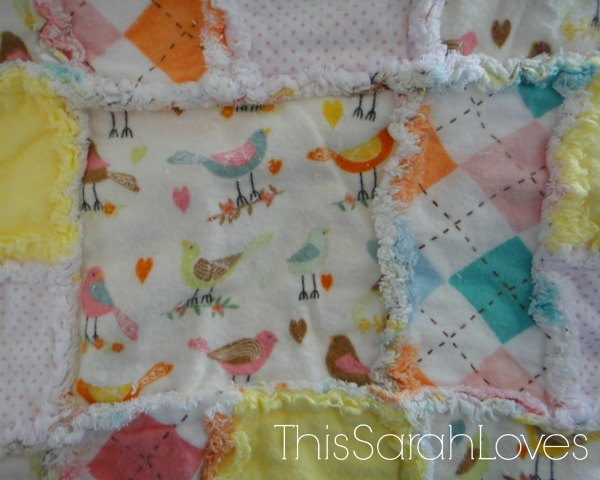 Little Birdy Rag Quilt - Close-up