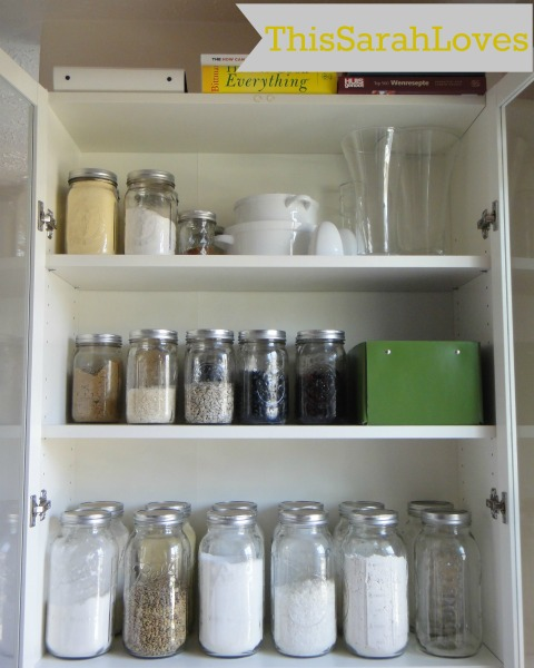 Mason Jar Organization in a Billy Bookshelf II #thissarahloves