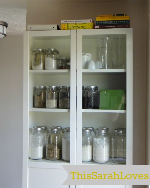 Mason Jar Organization in a Billy Bookshelf #thissarahloves