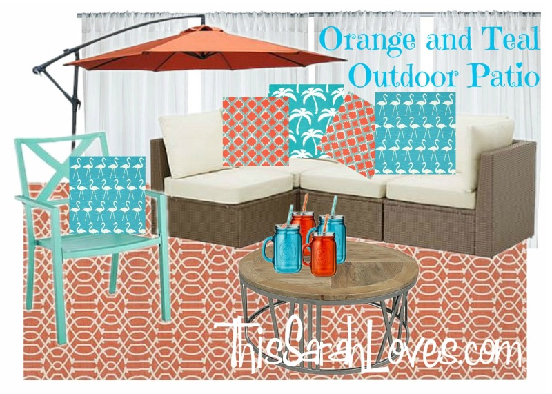 Outdoor Patio in Orange and Teal - #thissarahloves